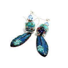 Teal Blue Lampwork Bead Earrings. Artisan Enamel by wildwomanbeads