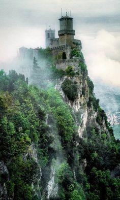 The misty San Marino Castle in Italy.