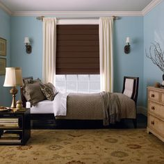Brown shades to block light with blue wall? - Levolor Hobbled Roman Shades