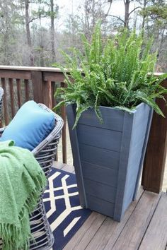 $20 Tall Planters: Planters like these cost a lot more then $20 at a store. Here is a DIY plan to save you money and make your porch or patio look fantastic! Ana White used Rust-Oleums Ultimate Wood Stain in Weathered Grey, you can see all the other stain color choices here: http://www.rustoleum.com/product-catalog/consumer-brands/wood-care/ultimate-wood-stain/