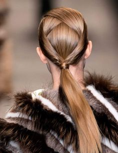 With our coming to a close, I leave you with a hair idea to outdo all hair ideas: the intricate, crisscrossed ponytail from Fendi& fall 2014 show. I consider this cool ponytail to. Dance Hairstyles, Ponytail Hairstyles, Wedding Hairstyles, Updo Hairstyle, Braid Hair, Wedding Updo, Hairstyle Ideas, Fun Ponytails, High Fashion Hair