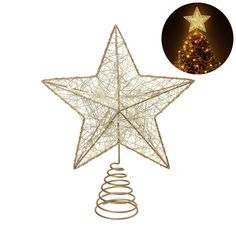 NICEXMAS Christmas Tree Topper LED Star Battery Operated Treetop Decoration (Gold). Gold appearance adds elegant and luxurious shimmer for your seasonal decorating. Easy to match any color tree, whether green or white, natural or artificial. Warm light, steady on. Create a warm and happy Xmas environment, make the tree unique and attractive. Perfect as a Christmas gift. Powered by 3 AA battery(not included).