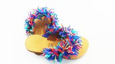 Multi Coloured Flat And Round Ribbon Sandals. Flip Flops With Leather Upper And Lining .( Also Avaiable In Ladies Sizes, Price 52 Euros)