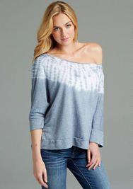gray/white off-the-shoulder sweatshirt