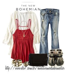 """""""The New Bohemian with American Eagle Outfitters: Contest Entry"""" by bianca-2904 ❤ liked on Polyvore featuring American Eagle Outfitters, Warehouse and aeostyle"""