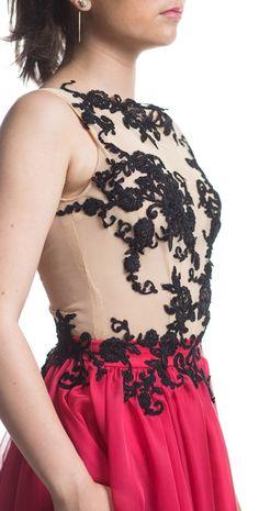 Etiquette Boutique-Black lace and red silk dress