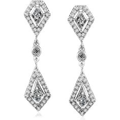 Kite Cut Diamond Dangle Earrings 1 1/10 Carat (ctw) in 14k White Gold (4,785 CAD) ❤ liked on Polyvore featuring jewelry, earrings, 14k earrings, white gold diamond earrings, antique jewelry, 14 karat gold earrings and white gold earrings