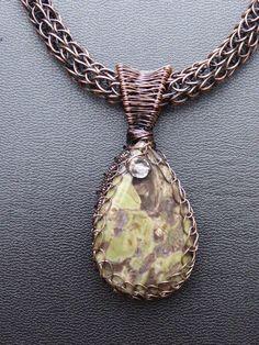 Agate Copper Wire Wrapped PendantViking Knit  by LadearJewellery