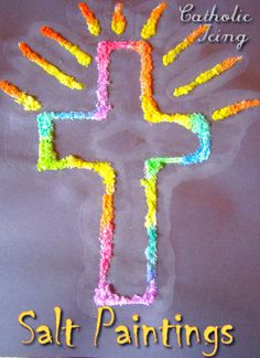 Make this easy cross craft with kids. Salt painting is so much fun! Found on a Catholic site but explanation can be used for any drawings.