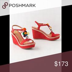 orange antro wedges so clean, so comfy, very good condition and beautiful Anthropologie Shoes Wedges