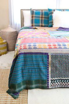 Kantha Queen Quilt & Pillow Shams - CQ61