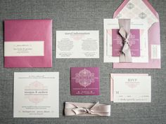 Pink and Purple Invitations Fuschia by JulieHananDesign on Etsy