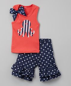 Another great find on #zulily! Beary Basics Coral Octopus Tank & Navy Ruffle Shorts - Infant, Toddler & Girls by Beary Basics #zulilyfinds