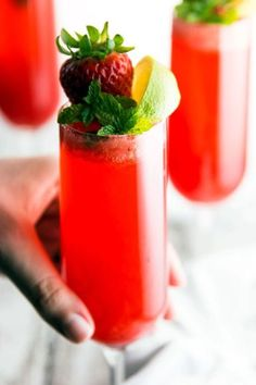 A refreshing yet decadent drink, this Strawberry Lime Champagne Cocktail is just about the best thing to serve at your next brunch get-together! It has only three ingredients - super quick and easy to make!   savorynothings.com