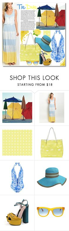 """""""Summer Trend - Tie Dye"""" by andrea2andare ❤ liked on Polyvore featuring Improvements, Leather and Sequins, Kensie, New Look, Gucci, Elizabeth and James, tote and summer2016"""