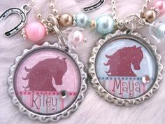 HORSE Jewelry Cowgirl Pink Blue Bottle cap by MyBlueSnowflake, $16.50