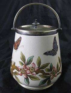 English Victorian Biscuit Barrel - 1880s Butterflies