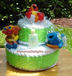 Sesame Street Pals Diaper Cake Diaper Cakes, Baby Boy Shower, Etsy Seller, Birthday Cake, Street, Creative, Desserts, Food, Birthday Cakes