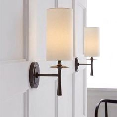 Aerin Drunmore Single Sconce Bronze Wall Light with White Linen Shade