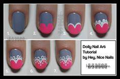 Doily heart nails