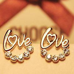 mode liefde diamanten oorknopjes – EUR € 0.99