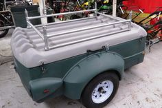 Survival camping tips Small Car Trailer, Small Camping Trailer, Kayak Trailer, Trailer Diy, Trailer Build, Space Trailer, Motorcycle Camper Trailer, Pull Behind Motorcycle Trailer, Motorcycle Camping