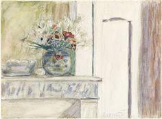 Pierre bonnard. vase de fleurs sur un coin de cheminée ; 1920