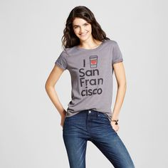 Women's San Francisco Latte T-Shirt Xxl - Charcoal Gray (Juniors')