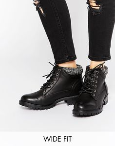 New Look Wide Fit Lace Up Boots