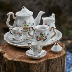Miniature Floral Pattern China Tea Set - Miniatures - View All - Dollhouse Miniatures - Doll Making Supplies - Craft Supplies   This set is good for larger dolls!