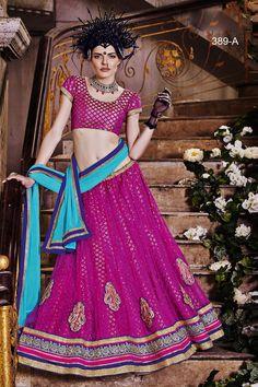 Designer Pink Wedding Wear Net Lehengha 389a