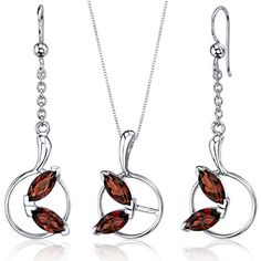 Ornate Circle Design carats Sterling Silver with Rhodium Nickel Finish Garnet Pendant Earrings Set - - Shop, Jewelry Sets Sets Jewelry Sets Garnet Pendant, Sapphire Pendant, Pendant Set, Sterling Silver Earrings, Silver Jewelry, Discount Jewelry, Christmas Earrings, Wedding Jewelry Sets, Circle Design
