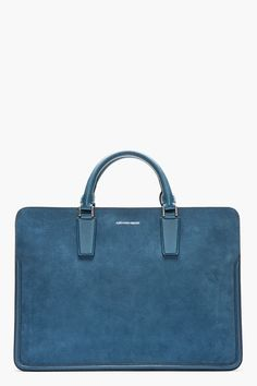 ALEXANDER MCQUEEN Blue suede & leather HEROIC BRIEFCASE