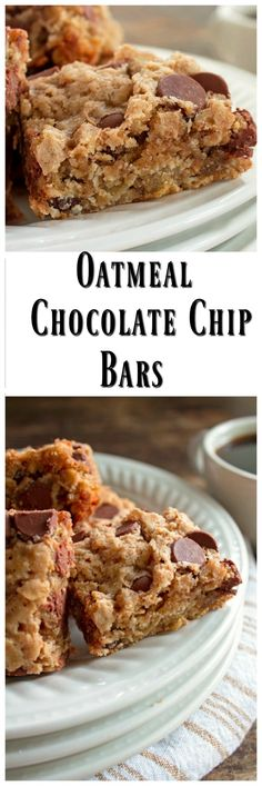 Oatmeal Cinnamon Chocolate Chip Bars via…