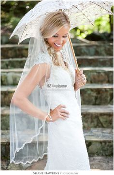 Lovely Knoxville bridal portrait with a beautiful parasol umbrella! This is a gorgeous bride at Dara's Garden with Shane Hawkins Photography