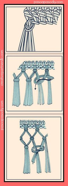 How to make fringe ~ single, double, & triple knot Tutorial for Crochet, Knitting. Crochet Borders, Crochet Stitches, Knit Crochet, Crochet Patterns, Crochet Fringe, Diy Paso A Paso, Macrame Tutorial, Macrame Knots, Weaving Techniques