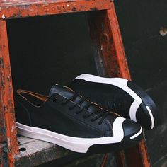 Fancy - Converse Jack Purcell x Denham Scissor Face Black Leather Sneaker