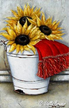 ✿Bouquet & Full Of Flower Basket✿ Stella Bruwer Art Floral, Deco Floral, Decoupage Vintage, Tole Painting, Painting & Drawing, Stella Art, Sunflowers And Daisies, Sunflower Art, Country Art