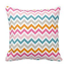 Girls Room Throw Pillows   Pretty Throw Pillows   Colorful Chevron Throw Pillow #chevron #throwpillow