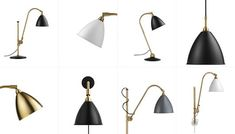Above: The classic Bestlite is black and chrome; now the Bestlite Collection from Gubi comes in several new options, including matte black with brass, matte white with brass, all brass, and charcoal gray with brass. They're available as floor, table, and pendant lamps, as well as sconses. Photo via Nordic Design.