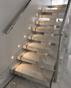 Discover great design ideas when renovating your marble staircase - Aluminum catwalk for marble stairs with modern design and lighting -