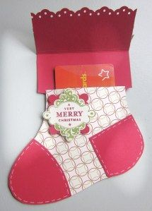 Stocking Gift Card You are in the right place about gifts packaging Here we offer you the most b Christmas Gift Card Holders, Xmas Cards, Holiday Cards, Christmas Paper, Handmade Christmas, Christmas Crafts, Christmas Goodies, Gift Cards Money, Card Tutorials