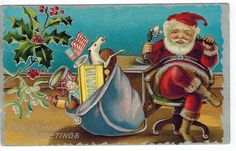 Antique Christmas Postcard Santa St Nicholas Telephone Flag 1909 Emb Silver | eBay