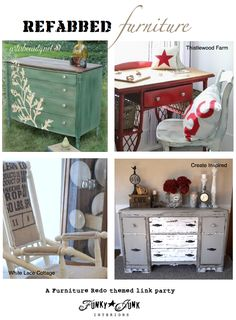 200+ Refabbed Furniture projects! - a themed link party via Funky Junk Interiors