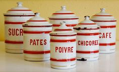 Vintage French enamelware, canister set of 6, white enamel tins with red stripe & lettering. So cute!