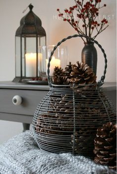 Wire basket of pine cones