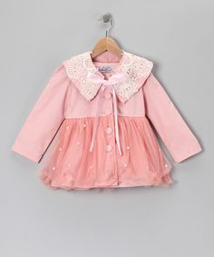 Take a look at this Pink Crochet & Lace Jacket - Toddler & Girls on zulily today!