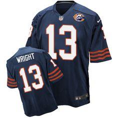 Men's Nike Chicago Bears #13 Kendall Wright Elite Navy Blue Throwback NFL Jersey