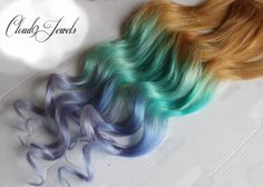 Pastel Clip In Hair Extensions, Ombre Hair,  Mint, Purple, Ombre Dye Tips, Hair Wefts, Human Hair, Pastel Extensions, Hippie hair by Cloud9Jewels on Etsy https://www.etsy.com/listing/171774187/pastel-clip-in-hair-extensions-ombre