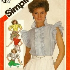 A Ruffled, Front Band Closing Blouse Pattern with Neckline and Sleeve Variations, Vintage 1982
